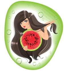 Brunette girl holding a watermelon Template label vector image