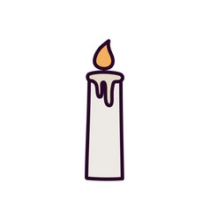 burning candle decoration on white background vector image