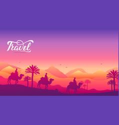 caravan of camels on background of the desert vector image