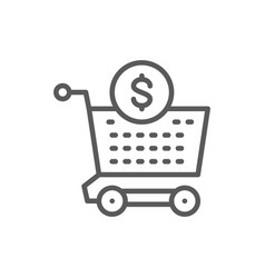 cart money investment deposit line icon vector image