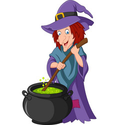 cartoon little witch preparing potion vector image