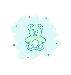 cartoon teddy bear plush toy icon in comic style vector image