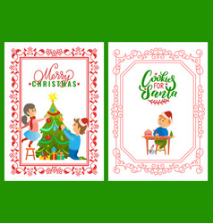 children decorating tree merry christmas postcard vector image