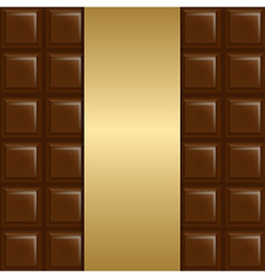 Chocolate Background With Gold Paper vector image