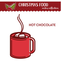 Christmas food and drink hot chocolate with vector