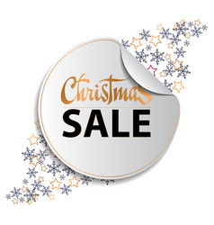 christmas sale background with snowflackes and vector image