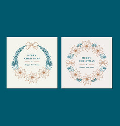 christmas wreaths with poinsettia flowers merry vector image