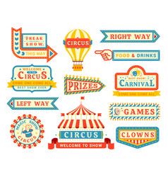 circus show promo flat labels set vector image
