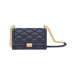 Classic quilted black flap bag with gold chain vector