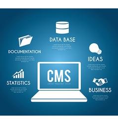 CMS design over blue background vector