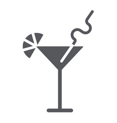 cocktail glyph icon bar and party drink sign vector image