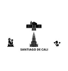 Colombia santiago de cali flat travel skyline set vector