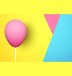 colorful background with pink realistic 3d balloon vector image
