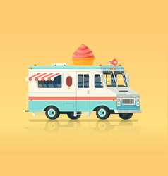 Colorful flat ice cream truck vintage vector