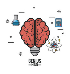 Colorful poster of genius mind with brain with vector