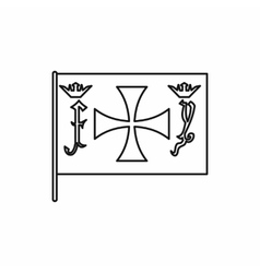 Columbus capitan flag icon outline style vector image