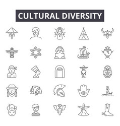 cultural diversity line icons signs set vector image