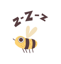 Cute bee buzzing funny cartoon insect making zzz vector