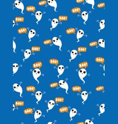 cute flying kawaii ghosts pattern vector image