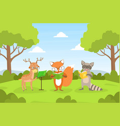cute woodland animals in glasses sitting on lawn vector image
