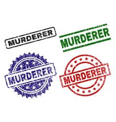 Damaged textured murderer seal stamps vector