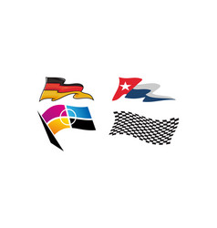 dynamic racing flag template set vector image