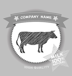 Farm shop cow Silhouette milk Diagram and Design vector image