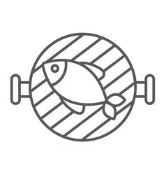 Fish grill thin line icon food and sea barbecue vector