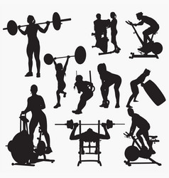 fit gym silhouettes vector image