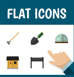 flat icon farm set of barbecue stabling hothouse vector image