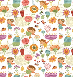 Floral pattern with fairies white vector