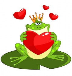 frog prince with heart vector image