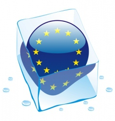 frozen flag of EU in ice cube vector image