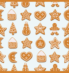 gingerbread cookies on white background vector image