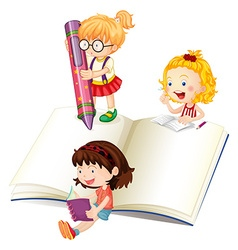 Girls reading and writing book vector