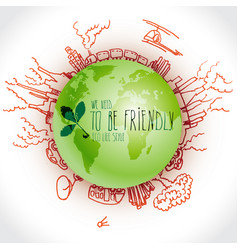 Green planet with danger ecology doodles sketched vector