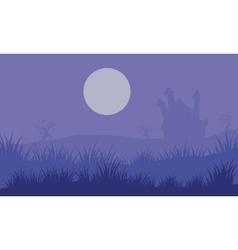 Halloween foogy castle and moon vector