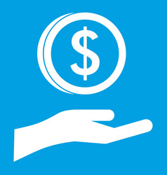 Hand and dollar coin icon white vector