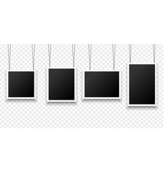 Hanging photo frames in various sizes background vector