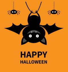 Happy halloween hanging bat and spiders cute vector