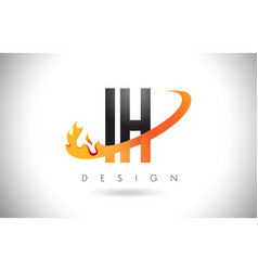 ih i h letter logo with fire flames design and vector image