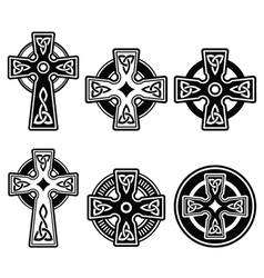 Irish Scottish Celtic cross on white sign vector