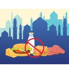 Islam break fasting with ban food and drink vector