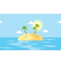 Island scenery with palm cartoon vector image