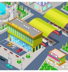Isometric City Bus Station with Buses vector image vector image