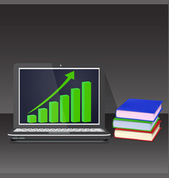 laptop with books on black background growth chart vector image