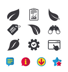 Leaf icon fresh natural product symbols vector