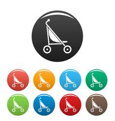 Little pram icons set color vector