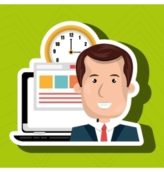 man and computer isolated icon design vector image