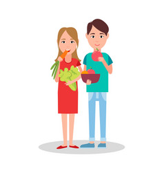 Man and woman eating poster vector